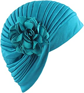 WOCACHI Hats And Caps Retro Stretch Solid Flower Turban Hat Head Scarves Wrap
