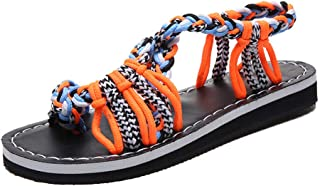 Rajendram Women Knotted Sandals Flat Toe Ring Ankle Strap Shoes for Summer Beach