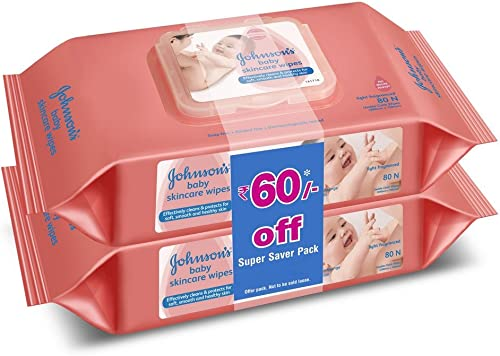 Johnson's Baby Wipes , Pack of 2 (160 wet wipes) product image