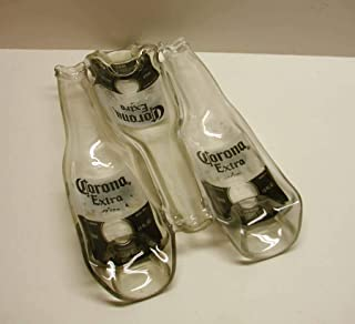 3 Corona Extra Beer Bottles Fused Condiment Dish Trinket Bowl Serving Piece