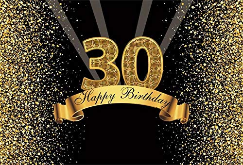 Photography Backdrop Happy 50 40 30 25 18 Birthday Party Gold Polka Dot Poster Photo Background Studio Props A24 10x7ft/3x2.2m