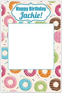 Donut Blue Birthday Personalized Selfie Frame Poster