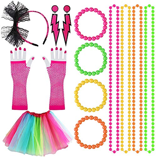 Kulannder 80s Fancy Dress Costume Accessories for Women and Girls, Retro Women Dresses Party with...