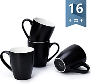 Sweese 601.114 Porcelain Mugs - 16 Ounce (Top to the Rim) for Coffee, Tea, Cocoa, Set of 4, Matte Black
