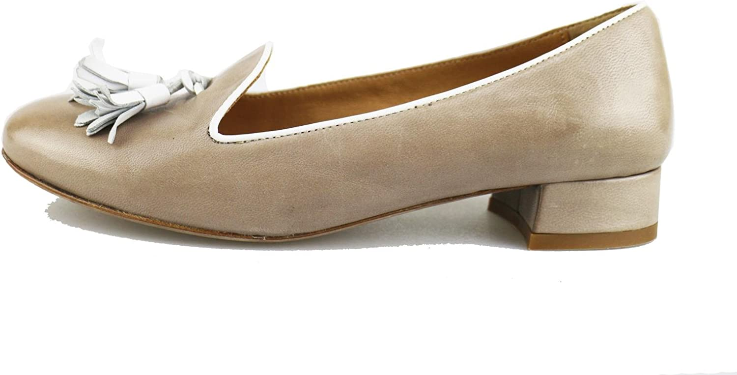 UMBERTO LUCIANI Loafers-shoes Womens Leather Beige