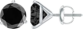 1/2-10 Carat Total Weight Black Diamond Stud Earrings 3 Prong Screw Back