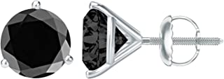 1/2-10 Carat Total Weight Black Diamond Stud Earrings 3 Prong Screw Back
