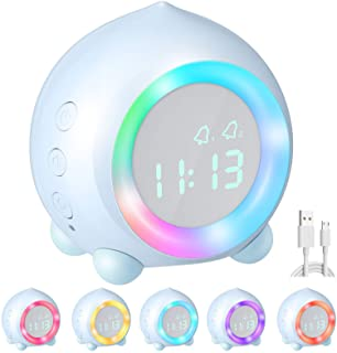 Homealexa Reloj Despertador Infantil Digital, Despertador Digital Simulador de Amanecer Despertador para Niñas Niños con Luces Colores y Lámpara de Luz Nocturna Despertador Silencioso