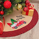 Zhenrui 42 Burlap Christmas Tree Skirt with Red and Black Plaid Border, Gnome Tree Skirt Farmhouse Style, Great for Christmas Tree Decoration Party Holiday and Home Decor