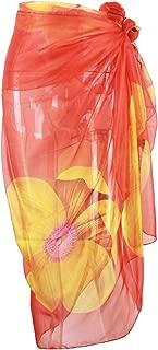 Block Garden Swimsuit Cover up Soft Chiffon Beach Sarong Pareo Bikini Wrap