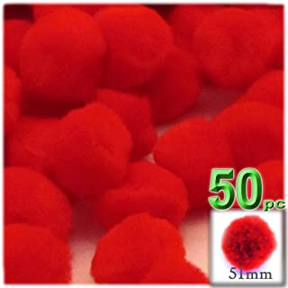 The Crafts Outlet 50-Piece Multi Purpose Pom Poms, Acrylic, 51mm/About 2.0-inch, Round, Red