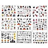 24pcs/set EsMX ornamento artístico de uñas Calabaza Arce Labio Cráneo Belleza. Etiqueta de Halloween Transferencia de agua