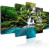 murando - Cuadro en Lienzo Buda Zen SPA 200x100 cm Impresión de 5 Piezas Material Tejido no Tejido Impresión Artística Imagen Gráfica Decoracion de Pared Cascada Paisaje Naturaleza c-C-0019-b-n