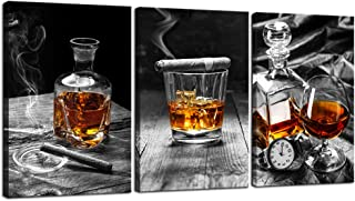 sechars - Large 3 Piece Canvas Prints Wall Art Cigar Whisky Pictures Canvas Art Liquor Still Life Painting Giclee Print on...
