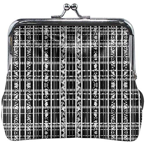 Kiss-Lock portemonnee van leer met klassieke gesp in abstract ruitpatroon zwart