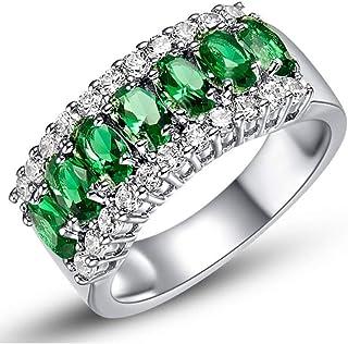 Uloveido 7 حجر أخضر مكعب زركونيا نصف قمر/حلقات مينيسكوس، أفضل الهدايا للنساء فتاة - حجم 6 7 8 9 J501