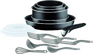 Tefal Ingenio Essential Batterie de cuisine 15 pièces, Poêles, Casseroles, Couvercles hermétiques, Spatules, 1 poignée, To...