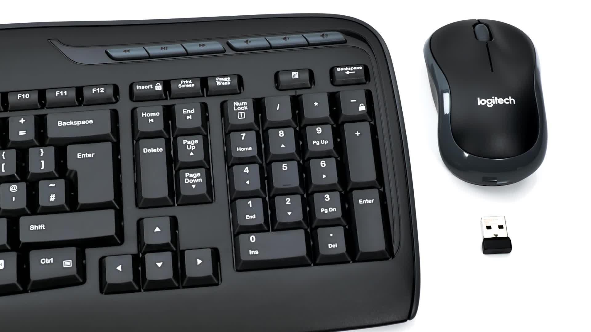 Logitech MK330 Combo Teclado y Ratón Inalámbrico parta Windows, Disposición QWERTY Inglés Reino Unido, Negro