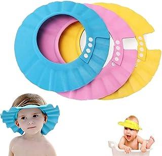 Gorra de ducha para bebé, Shineus ajustable e impermeable, gorra de baño con visera para ducha, protección de baño, gorro suave para niños, juego de 3 (rosa, azul, amarillo)