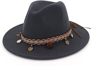 Fashion Sun Hat for Fashion Wool Women Fedora Hat Belt with Wide Brim Ornaments Fedora Hat Outdoor Casual Hat Top Jazz Hat Suitable for hot Weather Season (Color : Black, Size : 56-58CM)