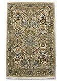 Alfombra tradicional persa hecha a mano Sultanabad, lana y arte. Seda (destacados), color crema, pequeño, 122 x 191 cm, 4' x 6' 3' (pies)