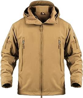 Susclude Men's Outdoor Military Tactical Jacket Hooded Windproof Hunting Softshell Fleece Coat Skiing Jacket Zip Pockets