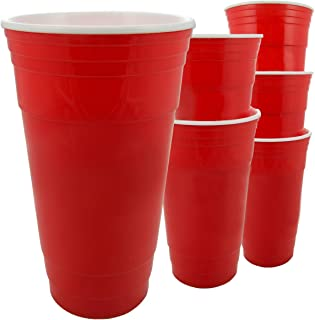6 Red Party Cups 32oz Reusable Double Wall Insulated Sweat Proof Dishwasher Safe