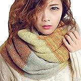 Tuopuda Bufandas Cuello Mujer Invierno Cálido Infinity cuello de la capucha del mantón de la bufanda larga de la Mujer (amarillo)