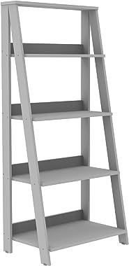 WE Furniture 4 Shelf Simple Modern Wood Ladder Bookcase Bookshelf Storage, Grey