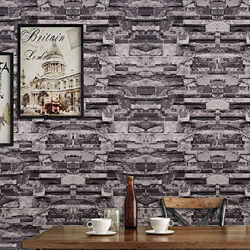 MorNon Wallpaper Bricks Slate Textured Rustic 3D Effect Grey Brick Tones Wall Paper Kitchen Bathroom Bedroom Wallpapers