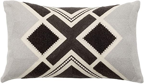 Rayroger Cotton Linen Embroidery Decorative Throw Pillow Case Aztec Tribal Print Cushion Cover Lumbar Pillowcase For Couch Bed Car 12 X 20 Grey