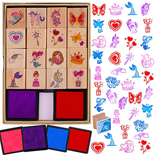 HOWAF 16pcs Wooden Stamps for Kids Girls Crafts with Ink Pad 4pcs, Unicorn Mermaid Princess Heart Rainbow Butterfly Stamps for Girls DIY Scrapbook Card Making, Party Bag Fillers Favor for Girls Gift
