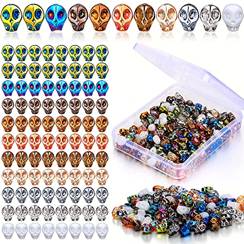 200 Pieces Skull Beads Skeleton Crystal Glass Skull Bead Charm Colorful Glass Skull Beads with Storage Box Beads for Earring Bracelet Necklace Halloween Decorations Skull Jewelry Making