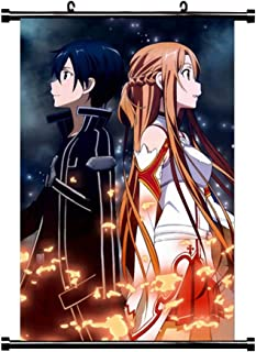 HomMall Anime Sword Art Online Yuuki Asuna and Kirito Poster Wall Scroll Hanging Paintings Art Painting Wall Scroll Poster(H01)