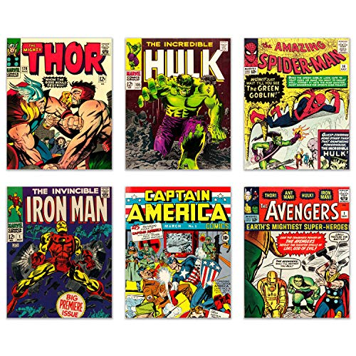 Vintage Avenger Comic Book Wall Art Prints - Set of 6 (8 inches by 10 inches) Photos - Thor Spiderman Iron man Hulk Captain America