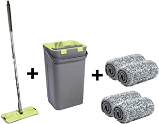 Nouveau Balai Magique de nettoyage + Seau essoreur double compartiment + 4 têtes Microfibre tete pivotante 360°360