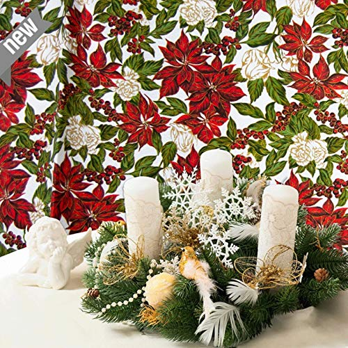 Weihnachtsstoff Navidad, Dekostoff Weihnachten, Meterware, Landhaus-Style, Christsterne, Stoff-Breite 140cm