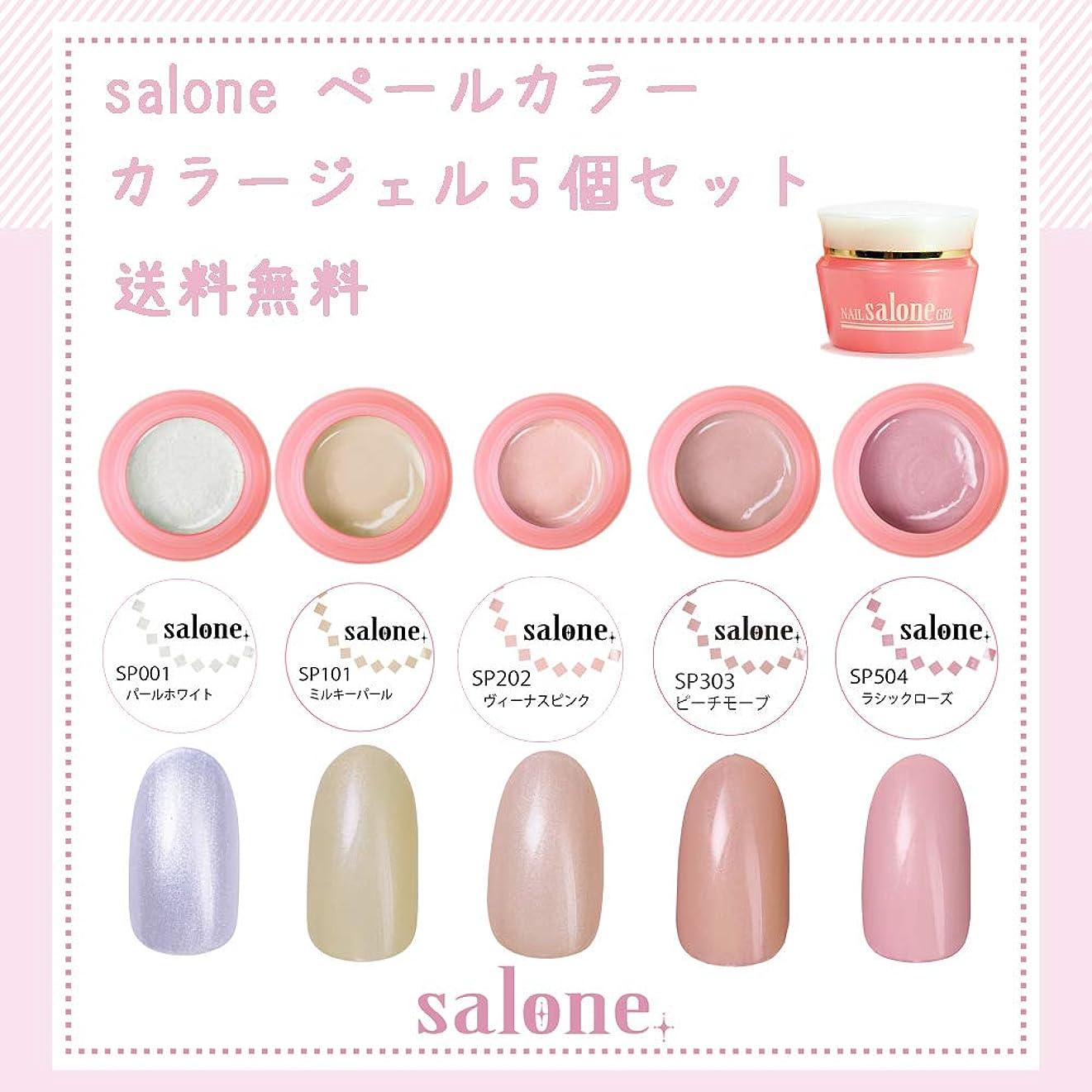 電池贅沢とても多くの【送料無料 日本製】Salone ペール カラージェル5個セット 上品なパール感漂うミルキーペールカラー
