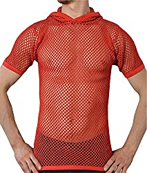 Mens transparent red fishnet t-shirt with hood.