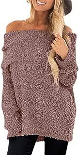 Women Off The Shoulder Sweaters Loose Knit Jumper Long Sleeve Sweater