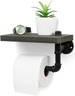 MyGift Industrial Style Wall-Mounted Pipe Design Toilet Paper Holder with Barnwood Gray Wood Shelf