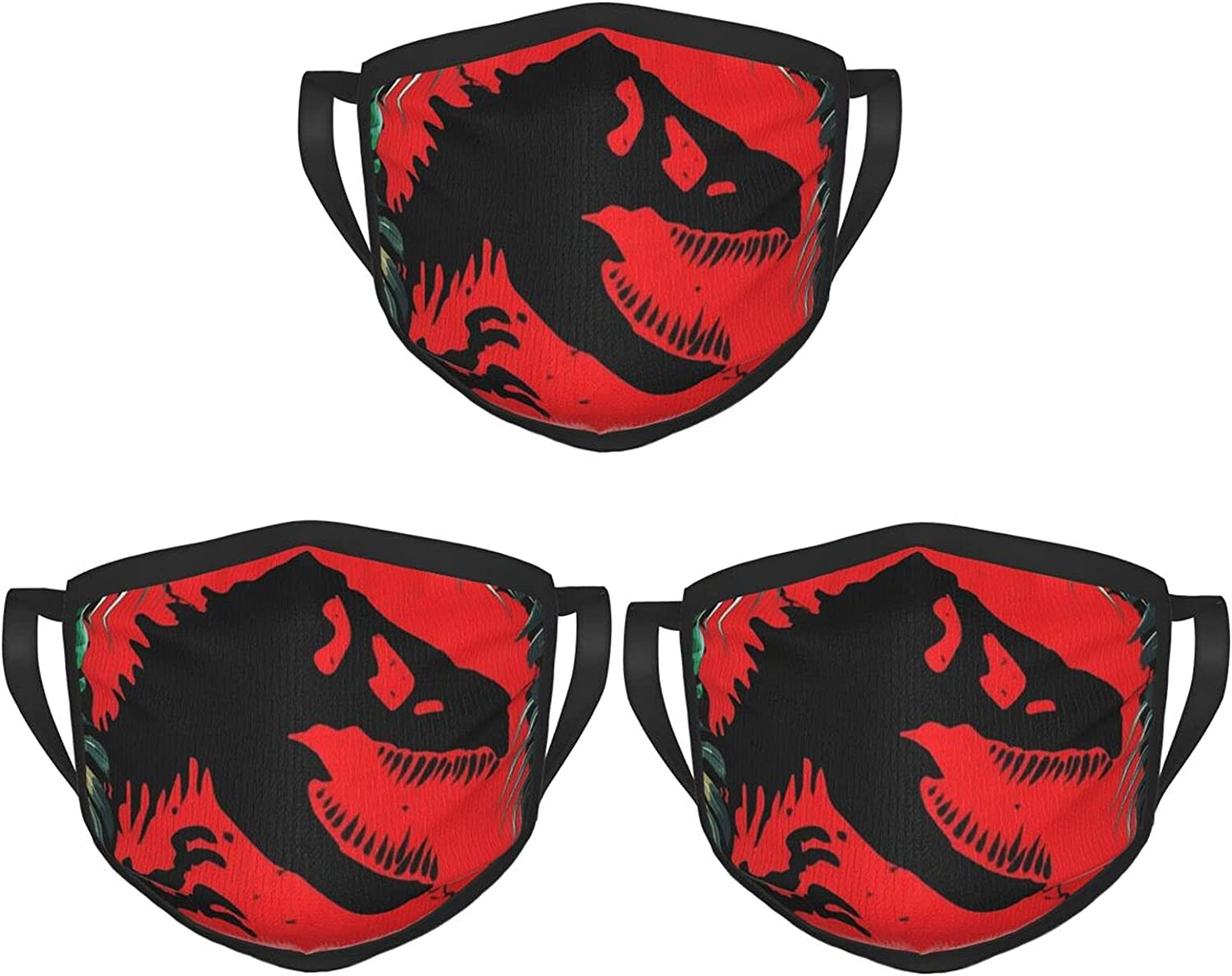Balaclava Earmuffs Dinosaur Leaves Black Red Face Mouth Cover Mask Reusable Windproof Scarf Towel Cover Headwrap
