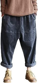 Women's Corduroy Harem Pants Wide Leg Capri Trouser Front Pockets Pull On Cropped Fall Pants
