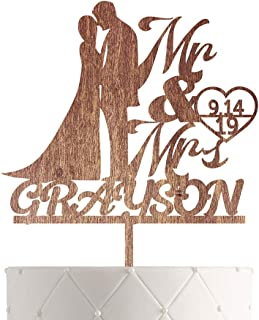Personalized Wedding Cake Topper With Customized Bride and Groom Last Name or Marriage Date for Mr Mrs (Walnut)
