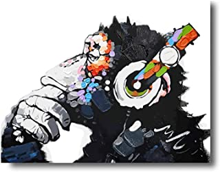 iFine Art ' DJ Monkey Thinker with Headphones Chimp ' Wall Art Framed Oil Paintings Printed on Canvas for Home Decorations Home Decor Modern Artwork Hanging for Living Room Bedroom, Ready to Hang