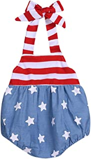 Swyss 4th July Toddler Baby Girls Clothes Stars and Striped Halter Romper Bodysuit Independence Day Outfits Sets