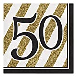 Creative Converting 317541 16 Count Paper Lunch Napkins, 50, Black and Gold