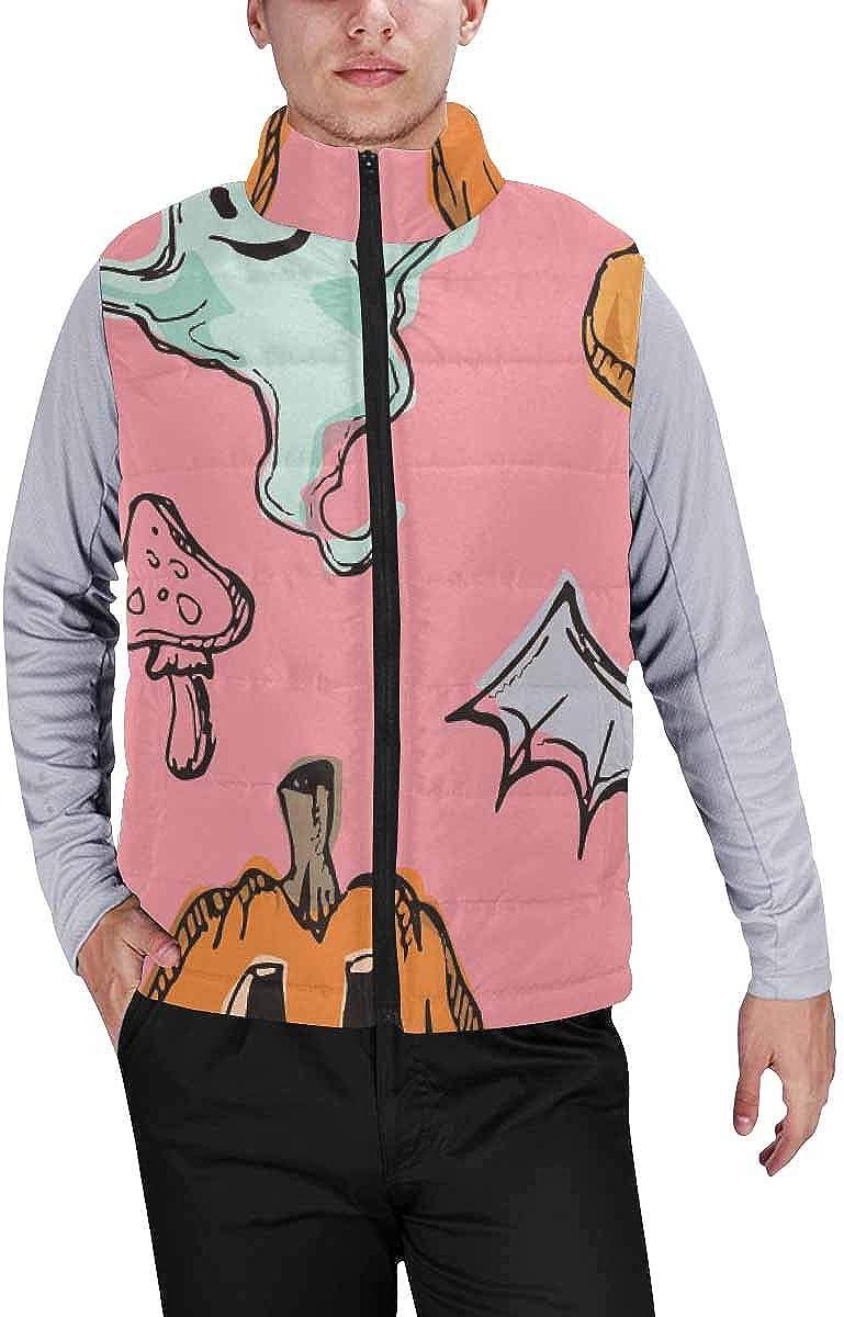 InterestPrint Men's Outdoor Casual Stand Collar Padded Vest Coats Halloween Funny Decorative Pattern