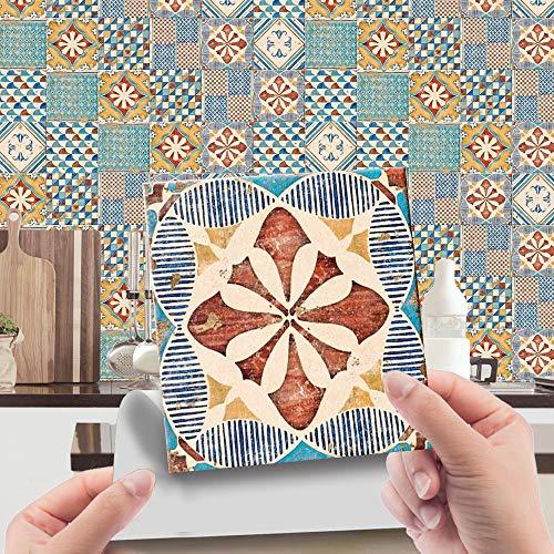 Hiser 24 Piezas Adhesivos Decorativos para Azulejos Pegatinas para Baldosas del Baño/Cocina Estilo marroquí Retro de Lujo Ligero Resistente al Agua Pegatina de Pared (Retro,15x15cm)