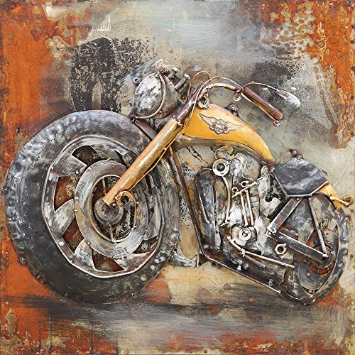 ETA-TM Bild Metall 3D. Art lackiertes Metall Relief. Maße 60x 60x 7cm. Wanddekoration Metallic. Tabelle Metall Harley Davidson Gelb. Dekoration Design optimalen. Exklusiv. auf Lager